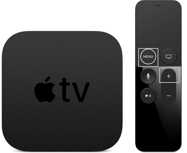Menu and Volume up button on apple remote
