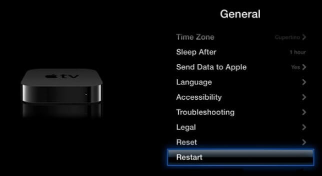 Choose the Reset Option to reset Apple TV
