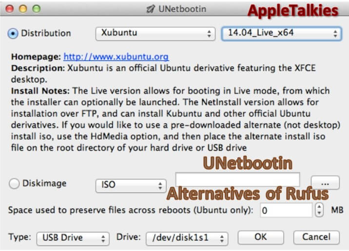 UNetbootin is a good alternative for rufus