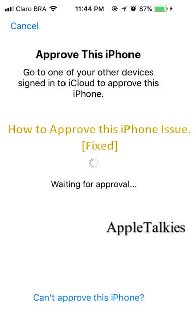 Approve iPhone pop up