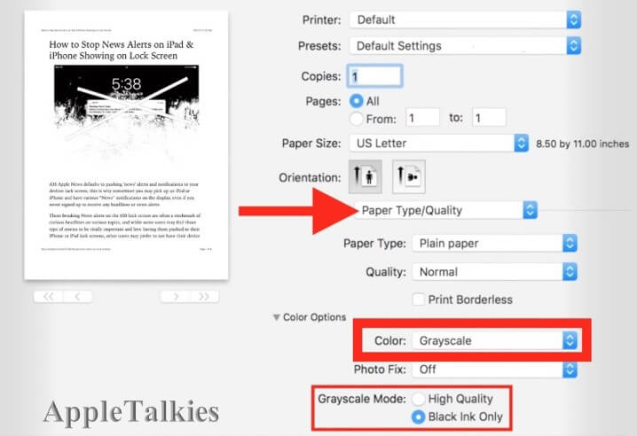 Image Printing - how to print in black and white on mac