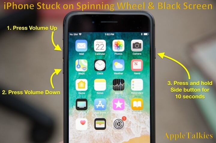 Force Restart you iPhone to fix iPhone spinning wheel