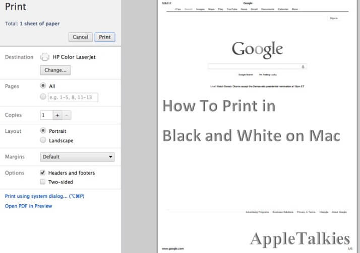 how to print in black and white on mac google chrome