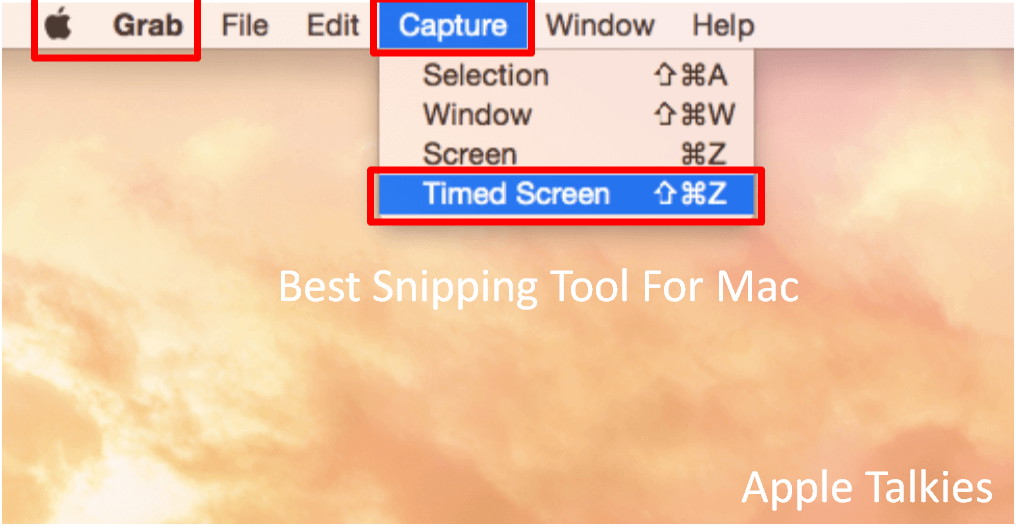 Snipping Tool for Mac Capture Timed Screen