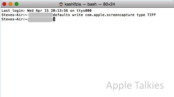 terminal code to change file format to TIFF